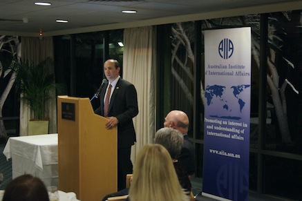 The Hon. Dr Jeffrey L. Bleich, U.S. Ambassador to Australia, speaks at the Inaugural Annual Dinner of the ACT Branch in August 2013.