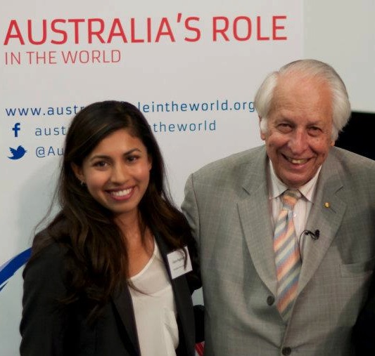 AIIA National Intern with Sir Gus Nossal for the launch of the Australia's Role in the World website.