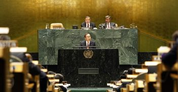 United Nations Secretary-General Ban Ki-moon speaks at the 2010 High-level Review Conference of the Parties to the Treaty on the Non-Proliferation of Nuclear Weapons (NPT).  Mr. Ban urged nations to make nuclear disarmament targets a reality.