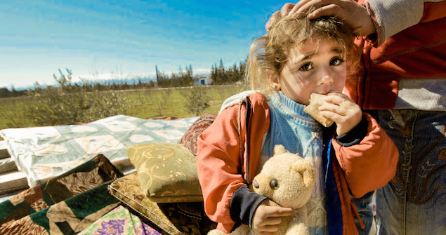 A Syrian family displaced in Qaa, Lebanon. Image Credit: Flickr (Freedom House). Creative Commons (cropped).