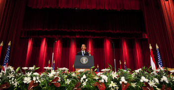 President Barack Obama speaks at Cairo University on 4 June 2009. Image credit: Wikimedia Commons (The Official White House Photostream) Creative Commons.
