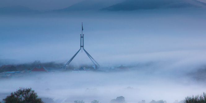 Capital Hill covered in fog. Photo Credit: Flickr (Colin Pilliner) Creative Commons.