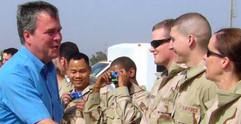 Jeb Bush visits troops in Iraq in 2006 while governor of Florida. Photo Credit: Flickr (United States Forces Iraq) Creative Commons.