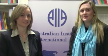 Dr Olivia Gippner and Michelle Parker conduct an interview for the AIIA, July 14, 2015.