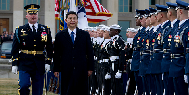 A full honors arrival ceremony welcomes Chinese Vice President Xi Jinping, center left, to the Pentagon Feb. 14, 2012. Photo Credit: Flickr (U.S. Department of Defense) Creative Commons