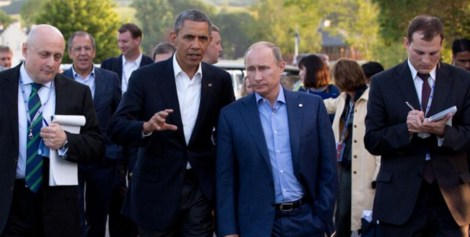 Barack Obama at a bilateral meeting with Vladimir Putin during the G8 summit in Ireland, June 17, 2013. Photo Source: Wikipedia (Russia–United States relations) Creative Commons