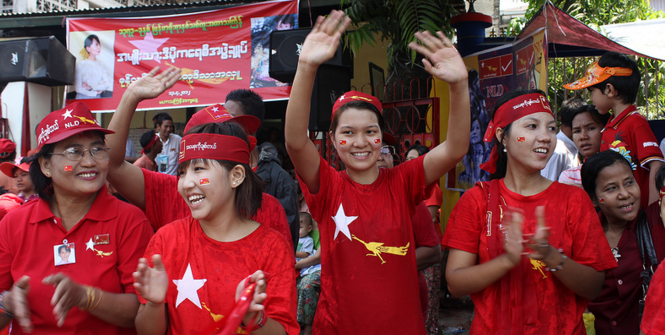 Outside National league for Democracy Headquarters, Burma. Photo Source: UN Women Asia and the Pacific (Flickr). Creative Commons.