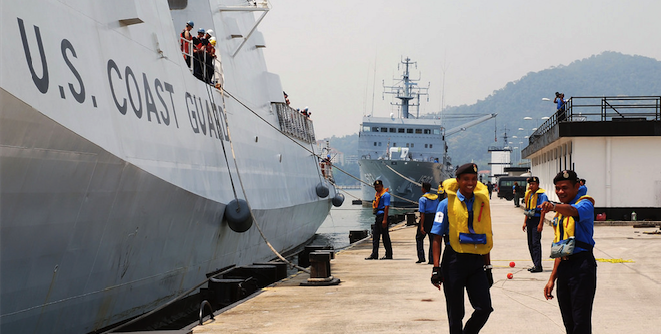 US coastguard ship in Lumut, Malaysia. Photo source: U.S. Pacific Command (Flickr). Creative Commons.