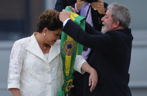 Dilma Rousseff receives the presidential sash from Luiz Inacio Lula de Silva on 1 January 2011.