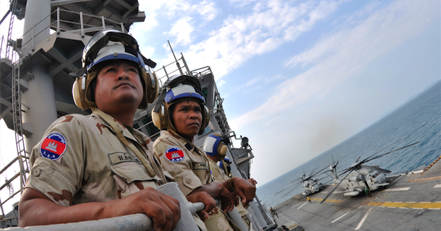 Cambodian troops aboard the USS Essex Photo Credit: Mass Communication Specialist 2nd Class Greg Johnson (Wikimedia Commons) Creative Commons