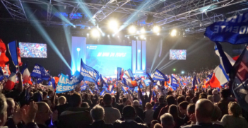 Rally by Marine Le Pen's supporters. Photo from Marine Le Pen's Twitter account.
