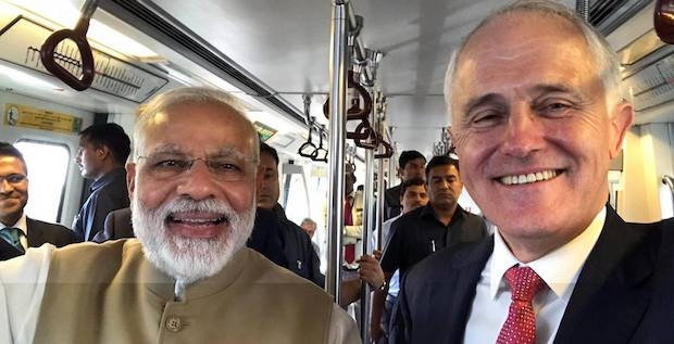 Turnbull and Modi on train during Turnbull's 2017 Indian visit. From Turnbull's Facebook page.