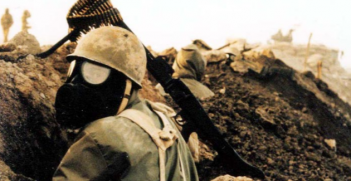 An Iranian soldier wearing a gas mask during the Iran-Iraq War. Wikimedia Commons.