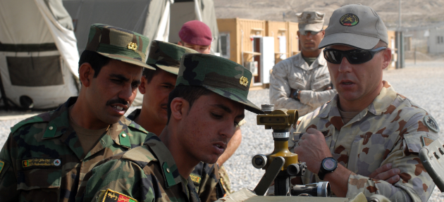 Australian Army sergeant teaches Afghan Nation Army officers artillery setup (Wikimedia Commons)