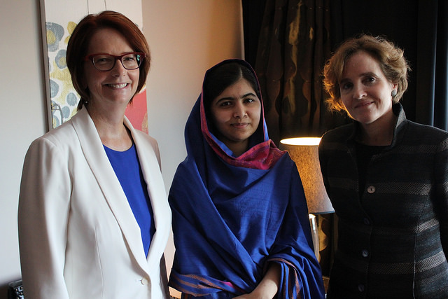 Alice Albright and Julia Gillard, CEO and Board Chair of the GPE, with Malala Yousafzai