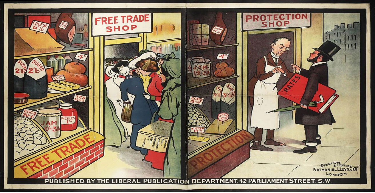 A poster displaying the differences between an economy based on Free Trade and Protectionism