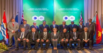 Pacific Islands Leaders, Ministers and Dame Meg Taylor, Secretary General of the Pacific Islands Forum, with Foreign Minister Bishop following the inaugural Pacific Islands Forum Foreign Ministers Meeting in Sydney, on 10 July 2015.