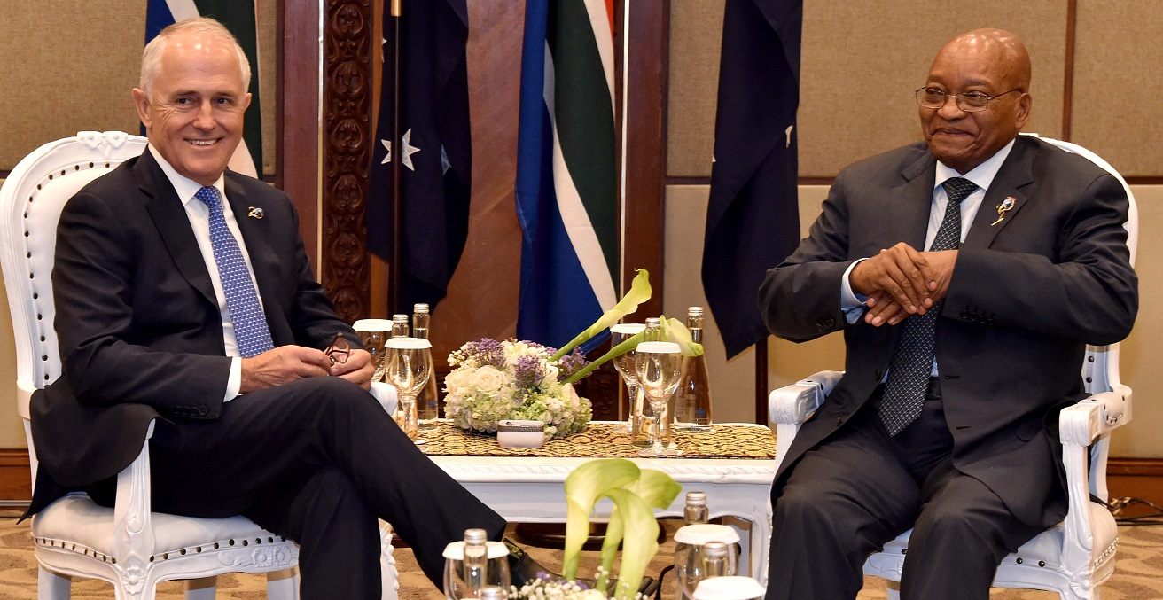 President Jacob Zuma meets with Australian Prime Minister Malcolm Turnbull.