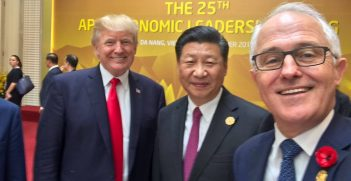 Malcolm Turnbull takes a selfie at APEC 2017 with Donald Trump and Xi Jinping. Source: M Turnbull's Facebook Page