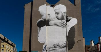 This large mural was installed overnight on a wall at the Dame Street end of South Great George's Street, Ireland