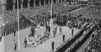 A flag raising ceremony in Sydney