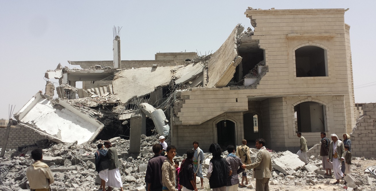 A destroyed house in the south of Sanaa