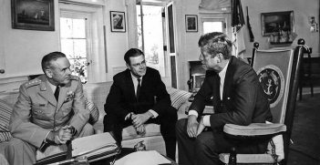 02 October 1963  President Kennedy meets with the Secretary of Defense and Chairman of the Joint Chiefs of Staff. General Maxwell D. Taylor, Secretary Robert S. McNamara