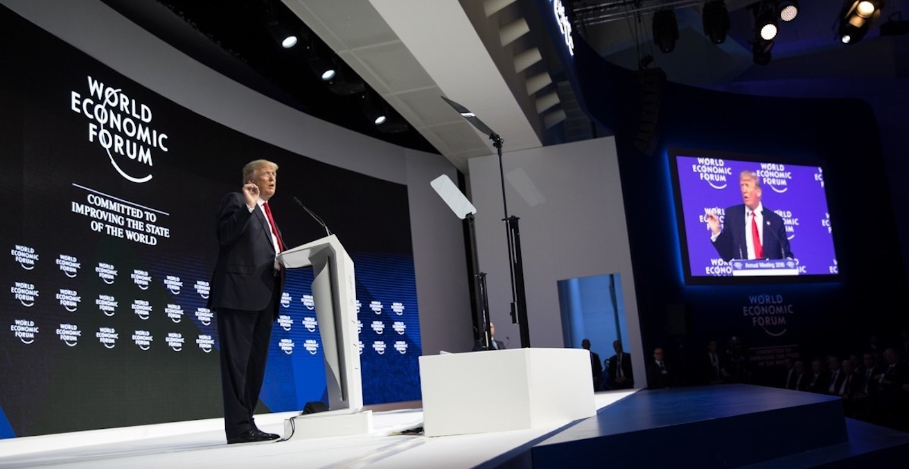 US President Trump addresses the 2018 Davos meeting of the World Economic Forum on 26 January. (Image from Whitehouse.gov)