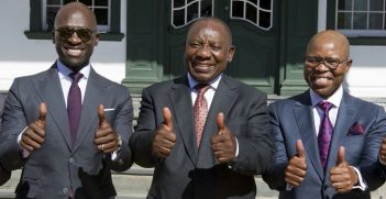 South African President Cyril Ramaphosa after the 2018 Budget Speech. Pic: Ramaphosa's Twitter Account
