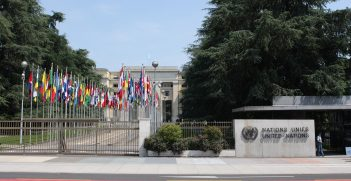 The gates outside UNHQ in Geneva
