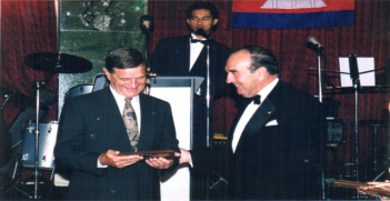 Sawathey Ek hosted a Vice-Regal Function in 1999 for a Tribute Night to friends of Cambodia, who served to implement the Paris Peace Accords 1991, Sydney, with Lt Gen John Sanderson AC received a plaque from the late Governor Gordan Samuel AC CVO QC.