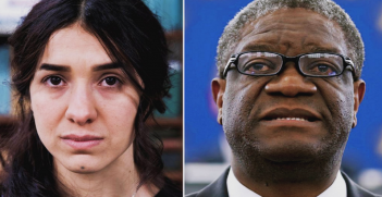 Nobel Peace Prize winners for 2018, Nadia Murad (left) and Denis Mukwege (right) (Credit: Reuters Lucas Jackson/Vincent)