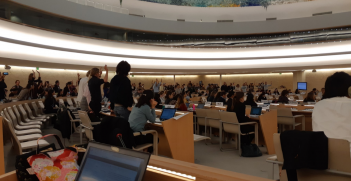 NGOs stand in solidarity against business during UNHRC Working Group at Geneva, 19 October 2018 (Credit: Twitter @joshpallas)
