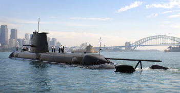 Collins Class submarine HMAS WALLER in Sydney (Credit: Royal Australian Navy).