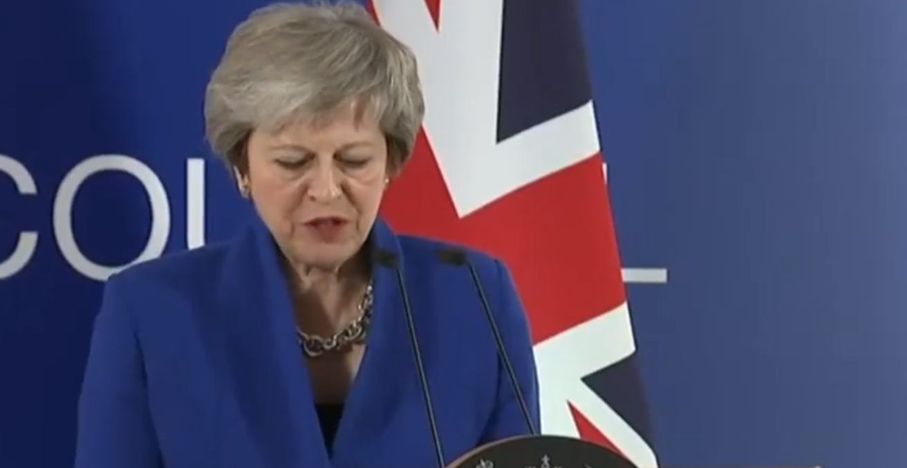 Theresa May makes a statement following EU Council. Source; Twitter