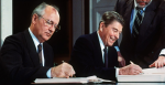 Soviet General Secretary Mikhail Gorbachev (left) and US President Ronald Reagan signed the Intermediate-Range Nuclear Forces Treaty on 8 October 1987. (Credit: AFP/Getty Images)
