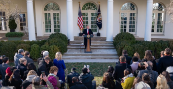 Trump addresses the media. Source; The White House.