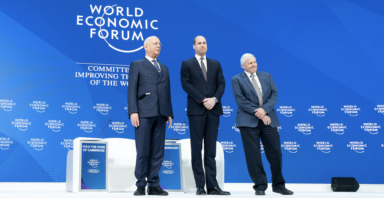 WEF Founder and Executive Chairman Klaus Schwab, the Duke of  Cambridge and Sir David Attenborough at Davos. Source: WEF, Flickr