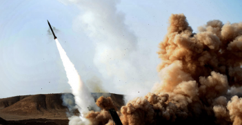 An Iranian Zelzal missile is fired during an IRGC training exercise. Source: Wikipedia