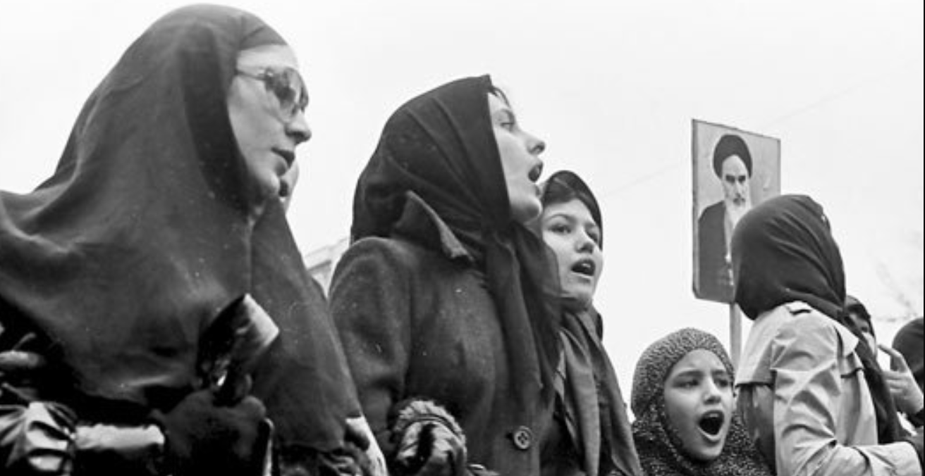 Iranian women protest during the 1979 revolution. Source: Wikimedia