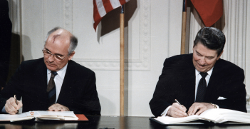 Gorbachev and Reagan sign the INF Treaty at the White House in 1987. Source: Wikipedia