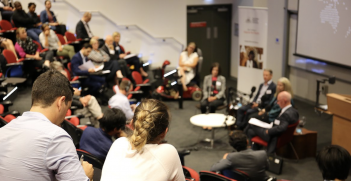 The panel discussion for episode 15 of Australia in the World on campus at ANU on 14 March 2019. Source: ANU College of Asia and the Pacific, Twitter