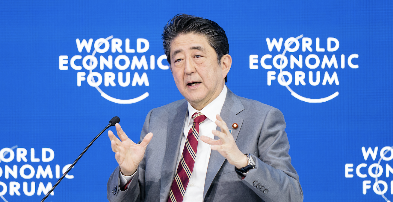 Japanese Prime Miniter Shinzo Abe laid his immigration reforms while at the World Economic Forum in Davos in January. Source: World Economic Forum, Flickr