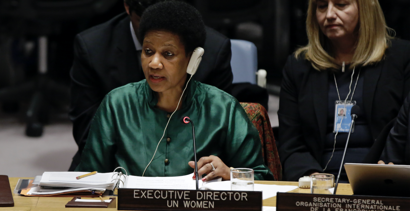 UN Executive Director for Women Phumzile Mlambo-Ngcuka at the UN Security Council Open Debate on Women Peace and Security 2017. Source: UN Women, Flickr