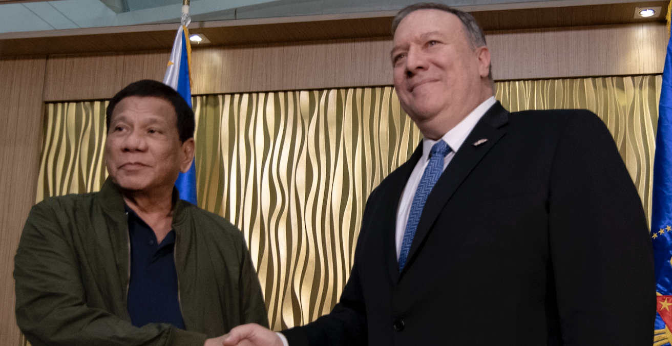 Philippine President Rodrigo Duterte met with US Secretary of State Mike Pompeo in Manila in February. Source: US Department of State, Flickr