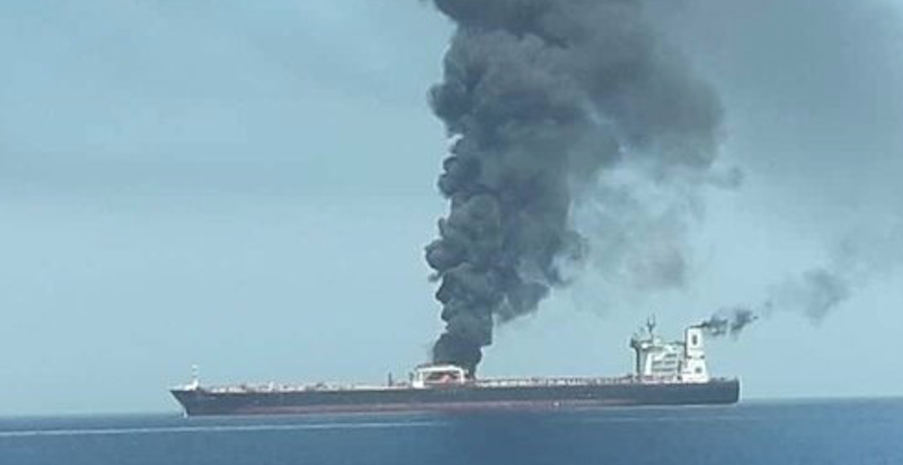 An Oil Tanker on fire in the Sea of Oman. Source: Iranian State TV, IRIB News Agency