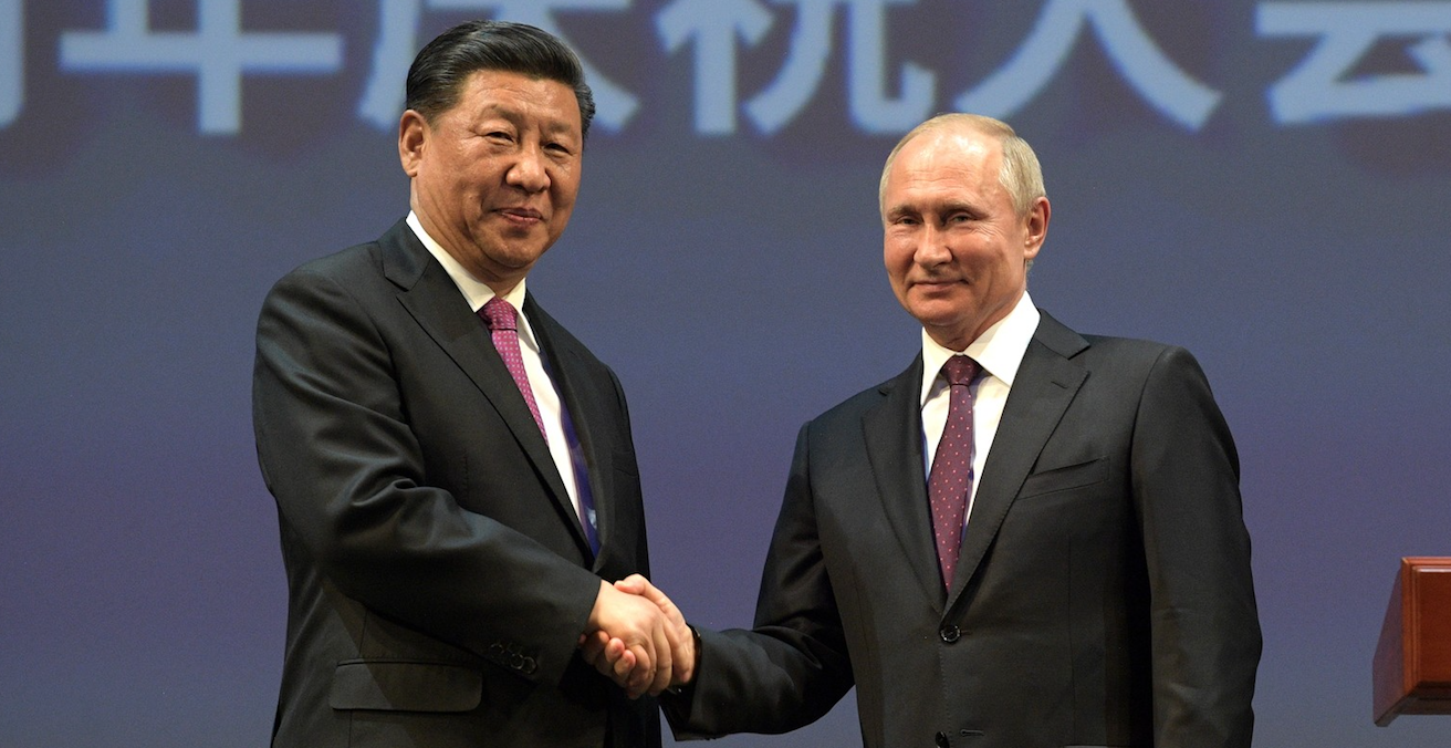 Vladimir Putin and Xi Jinping on 5 June 2019 at the 70th anniversary of establishing diplomatic relations between Russia and China. Source: Russian government website http://bit.ly/31TI27G