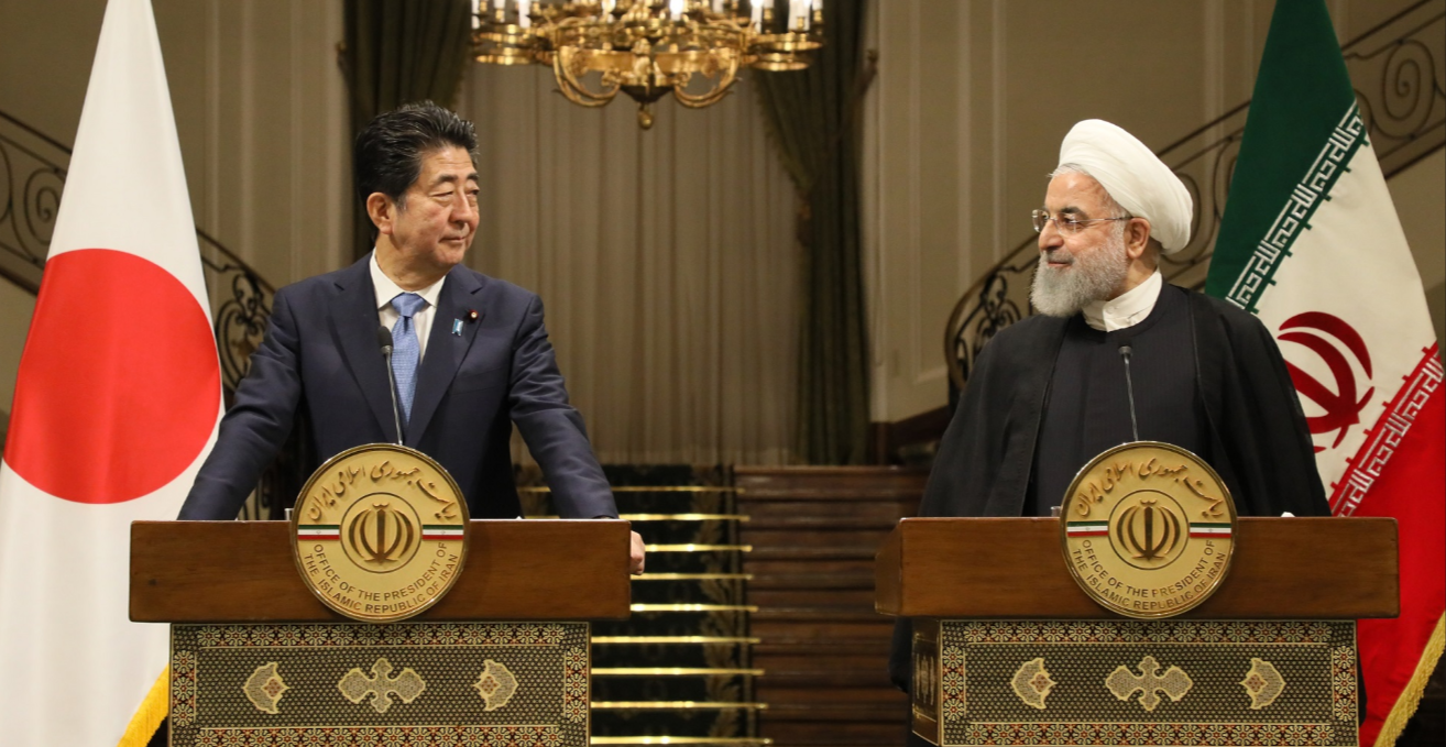 Photograph of the Japan-Iran joint press announcement. Source: Official Website of the Prime Minister of Japan and His Cabinet. https://japan.kantei.go.jp/98_abe/actions/201906/_00034.html