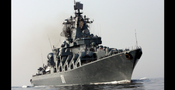 The Russian guided-missile cruiser Varyag at sea. Source: Wikimedia Commons http://bit.ly/32emgM4