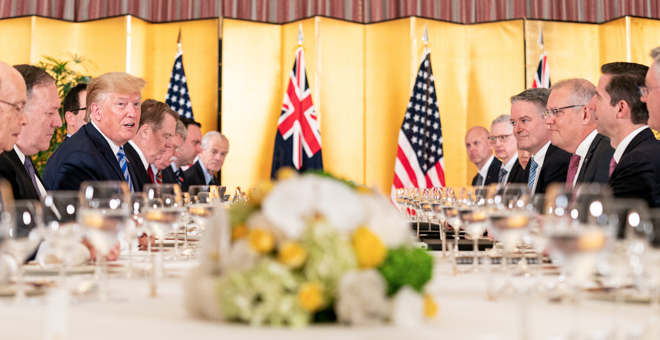 Scott Morrison at a dinner at the G20 Summit in Osaka, Japa Source: Flicker, The White House http://bit.ly/2LIwfDo